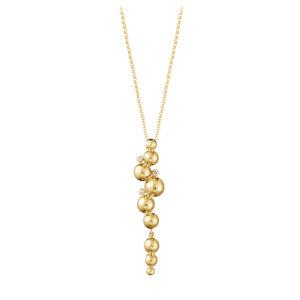 Mestergull Moonlight Grapes anheng i 18k gult gull med diamanter inkl kjede GEORG JENSEN Grape Anheng