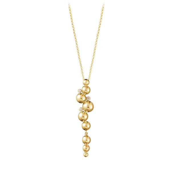 Mestergull Moonlight Grapes anheng i 18kt. gult gull med diamanter inkl kjede GEORG JENSEN Grape Anheng