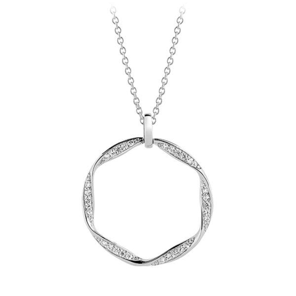 Mestergull Anheng i sølv 925S rhodinert, med blankpolert overflate og fasettslepne klare Zirkonia. SIF JACOBS JEWELLERY Cetara Anheng