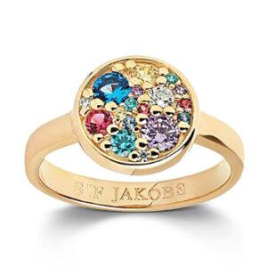 Mestergull Ring i sølv 925S forgylt med 18K gull, med blankpolert overflate og fasettslepne flerfargede Zirkonia. SIF JACOBS JEWELLERY Novara Ring