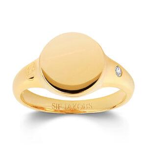 Mestergull Ring i sølv 925S forgylt med 18K gull, med blankpolert overflate og fasettslepne klare Zirkonia. SIF JACOBS JEWELLERY Follina Ring