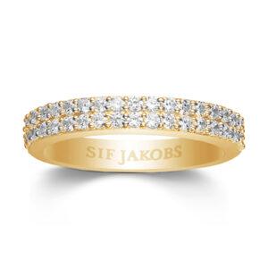 Mestergull Ring i sølv 925S forgylt med 18K gull, med blankpolert overflate og fasettslepne klare Zirkonia. SIF JACOBS JEWELLERY Corte Ring