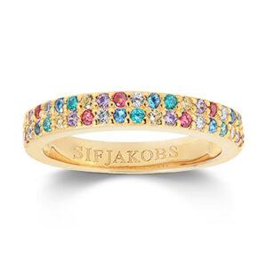Mestergull Ring i sølv 925S forgylt med 18K gull, med blankpolert overflate og fasettslepne flerfargede Zirkonia. SIF JACOBS JEWELLERY Corte Ring