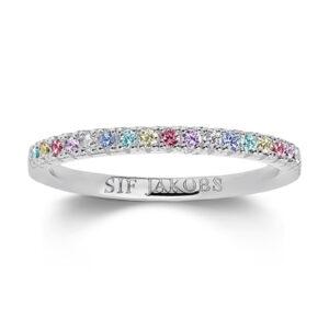 Mestergull Ring i sølv 925S rhodinert, med blankpolert overflate og fasettslepne flerfargede Zirkonia. SIF JACOBS JEWELLERY Ellera Ring