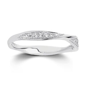 Mestergull Ring i sølv 925S rhodinert, med blankpolert overflate og fasettslepne klare Zirkonia. SIF JACOBS JEWELLERY Cetara Ring