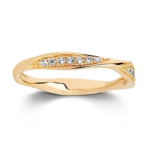 Mestergull Ring i sølv 925S forgylt med 18K gull, med blankpolert overflate og fasettslepne klare Zirkonia. SIF JACOBS JEWELLERY Cetara Ring