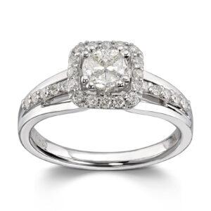 Mestergull Vakker ring i hvitt gull med 31 brillianter totalt 0,37 ct. HSi og 4 prinsess cut diamanter totalt 0,34 ct. HSi MG DIAMONDS Ring