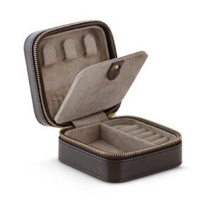 Mestergull Flott smykkeskrin med glidelås i brunt skinn LYNGGAARD Smykkeskrin