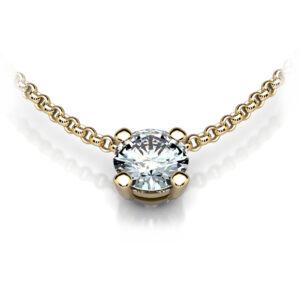 Mestergull Anheng i gult gull med fastmontert kjede designet for kundens diamant 0,50 ct. DESIGN STUDIO Spesialdesign Anheng
